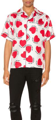 Amiri Hearts Pajama Shirt in White | FWRD