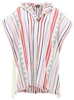 Isabel Marant Pilen Striped Hooded Cotton-blend Poncho - Womens - White Multi
