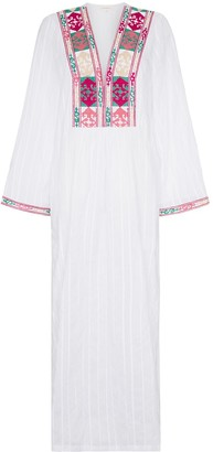 Celia Dragouni Celia Embroidered Cotton Maxi Dress