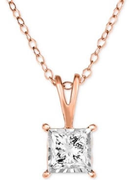 """TruMiracle Diamond Princess 18"""" Pendant Necklace (1/2 ct. t.w.) in 14k White, Yellow or Rose Gold"""
