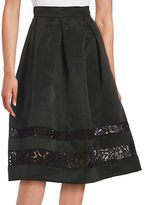 Eliza J Lace-Accented A-Line Skirt