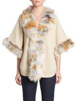 Adrienne Landau Knit Fox Fur Trim Coat