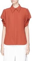Chloé Smocked effect pouf sleeve crepe shirt