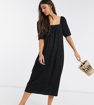 Asos DESIGN Tall broderie square neck midi sundress in black