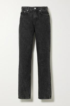 Ganni High-rise Straight-leg Jeans - Gray