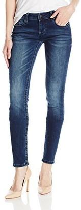 Grace in LA Women's Plus Size Plain Knit Denim Skinny
