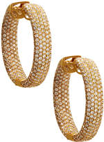 Diana M. Jewels 18k Yellow Gold Pave Diamond Hoop Earrings