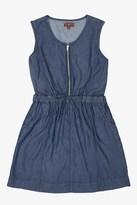 7 For All Mankind Girls S-Xl 2-Pocket Sleeveless Chambray Half-Zip Dress In Rinsed Indigo