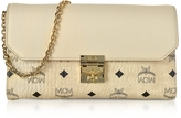MCM Medium Born Beige Millie Visetos Leather Block Flap Crossbody Bag