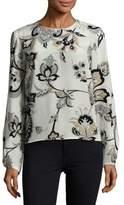 Carolina Herrera Floral-Printed Long-Sleeve Blouse