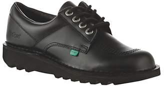 Kickers Children's Kick Lo Core Lace Up Shoes, Black Leather