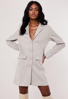 Missguided Gray Faux Suede Blazer Dress