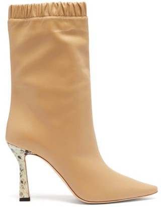 Wandler Python-embossed Kitten Heel Leather Boots - Beige Multi