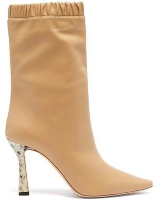 Wandler Python-embossed Kitten Heel Leather Boots - Womens - Beige Multi