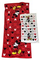 Disney Mickey Mouse Bath And Hand Towel Set Bundle: Two Items - Bath and Hand Towel Red Black White