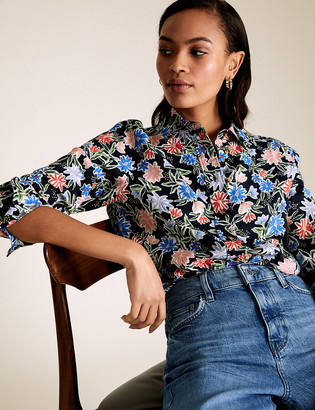 Marks and Spencer Pure Linen Floral Long Sleeve Shirt