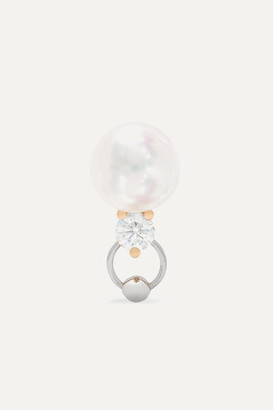 Delfina Delettrez 18-karat Yellow And White Gold, Pearl And Diamond Earring - one size