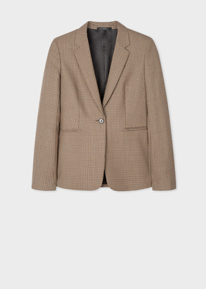 Paul Smith Women's Camel Houndstooth Check One-Button Wool Blazer