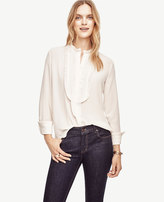 Ann Taylor Pleated Bib Blouse