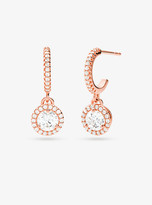 Michael Kors Precious Metal-Plated Sterling Silver Pave Halo Drop Earrings