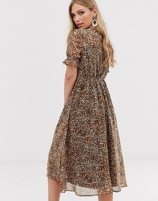 Y.A.S leopard print puff sleeve midi dress