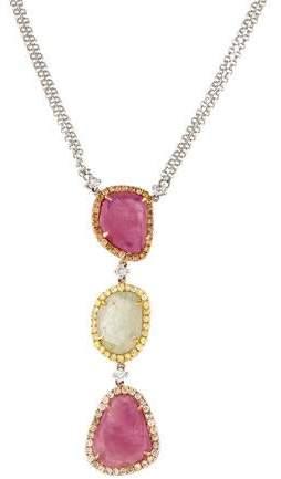 Rina Limor Fine Jewelry 18K Pink Sapphire, Yellow Sapphire & Diamond Drop Pendant Necklace