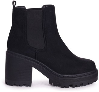 Linzi LEAH - Black Suede Extreme Chunky Chelsea Style Boot With Heavy Cleated Sole