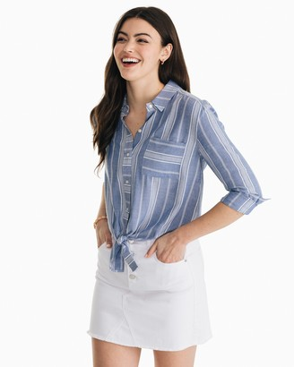 Southern Tide Madelyn Tie Front Button Down Shirt