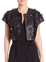 Josie Natori Faux Leather 3D Bolero Jacket