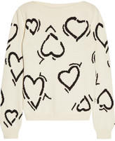 Max Mara Heart Intarsia Cotton-blend Sweater - Cream