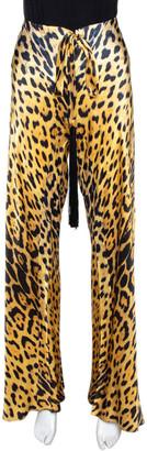 Roberto Cavalli Yellow Leopard Print Silk Flared Pants L
