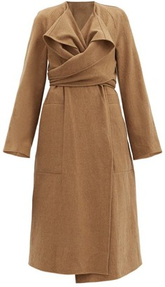 Lemaire Draped Wrap-front Wool Coat - Mid Brown