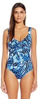 Badgley Mischka Women's Casbah Pleated Maillot with Loop One Piece Swimsuit