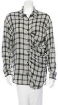Kimberly Ovitz Plaid Wool Button-Up Top