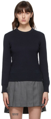 Thom Browne Online Exclusive Navy Milano Stitch Intarsia RWB Stripe Sweater