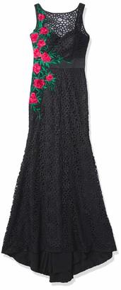 Mac Duggal Womens Asymmetrical Rose Applique Gown 6