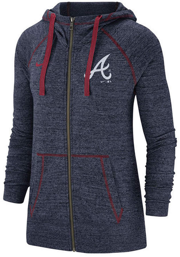 size 40 4409f 94d57 Women Atlanta Braves Gym Vintage Full-Zip Hooded Sweatshirt