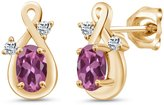 Gem Stone King 1.08 Ct Oval Pink Tourmaline and White Topaz 14k Yellow Gold Earrings