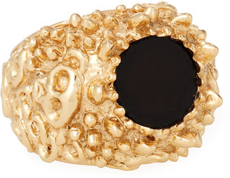 Emanuele Bicocchi Men's Golden Textured Black Onyx Ring