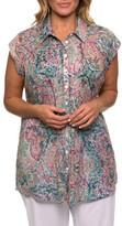 Yarra Trail Woman Short Sleeve Ornate Print Pintucked Shirt