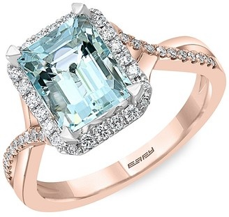 Effy 14K Rose Gold, Aquamarine Diamond Ring