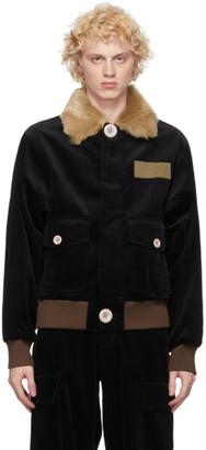Landlord Black Corduroy Bomber Jacket