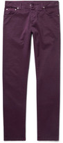 Isaia Slim-fit Stretch-cotton Twill Trousers - Merlot