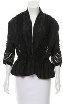 Robert Rodriguez Eyelet-Trimmed Button Up Blouse