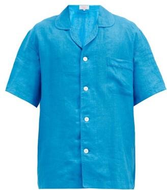 Emma Willis Curved-collar Short-sleeved Linen Shirt - Light Blue