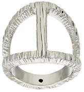 Italian Jewelry Collection As Is Italian Silver Sterling Elongated Diamond Cut Status Ring