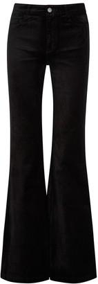 Paige Genevieve black flared stretch-velvet jeans
