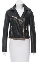 Just Cavalli Metallic-Trimmed Leather Jacket