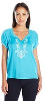 NY Collection Women's Petite Short Ralgan Sleeve Pullover with Smocking Neck and Embrodiery