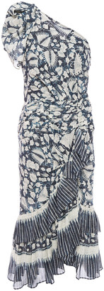 Ulla Johnson One-shoulder Printed Metallic Cotton-blend Voile Midi Dress